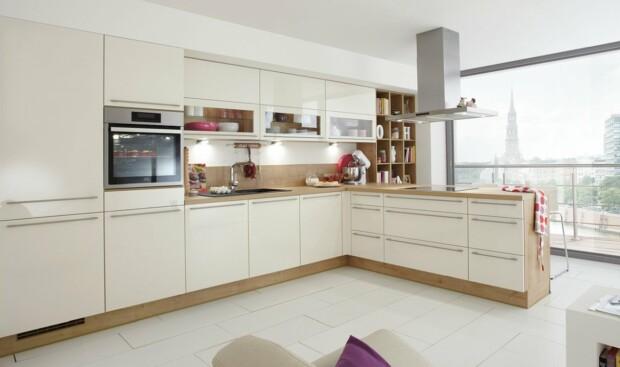 Nowoczesna, praktyczna, ergonomiczna i funkcjonalnie zorganizowana narożna kuchnia na wymiar NOBILIA FOCUS 462 magnolia z ultra połyskiem, lakier - Meble kuchenne - FM KUCHNIE Kraków