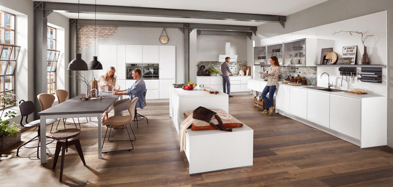Meble kuchenne NOBILIA INLINE 551 biały alpejski matowy, lakier - Nowoczesna, otwarta kuchnia w układzie jednorzędowym z bezuchwytowym systemem otwierania szafek i szuflad - FM KUCHNIE Kraków