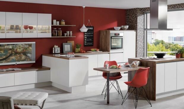 Nowoczesna, otwarta kuchnia z bezuchwytowym systemem otwierania szafek i szuflad LINE N NOBILIA LASER 416 biały, melamina - Meble kuchenne - FM KUCHNIE Kraków