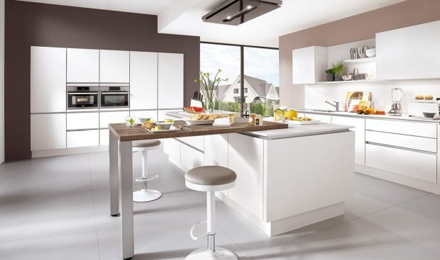 Meble kuchenne NOBILIA LASER 427 biały alpejski, melamina - Nowoczesna, otwarta kuchnia na wymiar z wyspą kuchenną - FM KUCHNIE Kraków