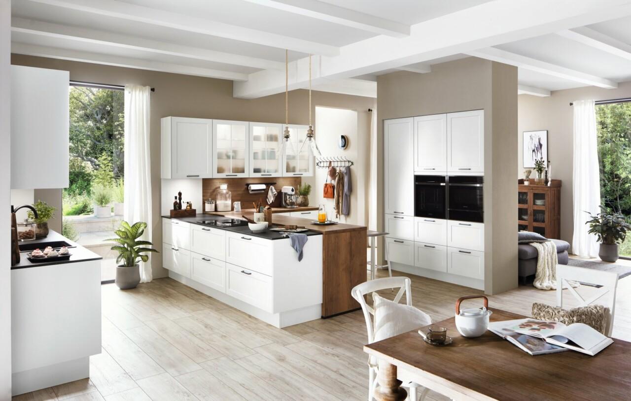 Meble kuchenne NOBILIA NORDIC 782 biały matowy, lakier - Nowoczesne meble do klasycznej otwartej kuchni z wyspą kuchenną połączonej z salonem -1- FM KUCHNIE Kraków