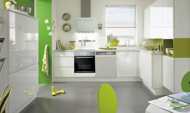 Meble kuchenne z systemem bezuchwytowym LINE N NOBILIA PURA 834 biały z połyskiem, lakier - Kuchnie na wymiar w kształcie litery L - FM KUCHNIE Kraków