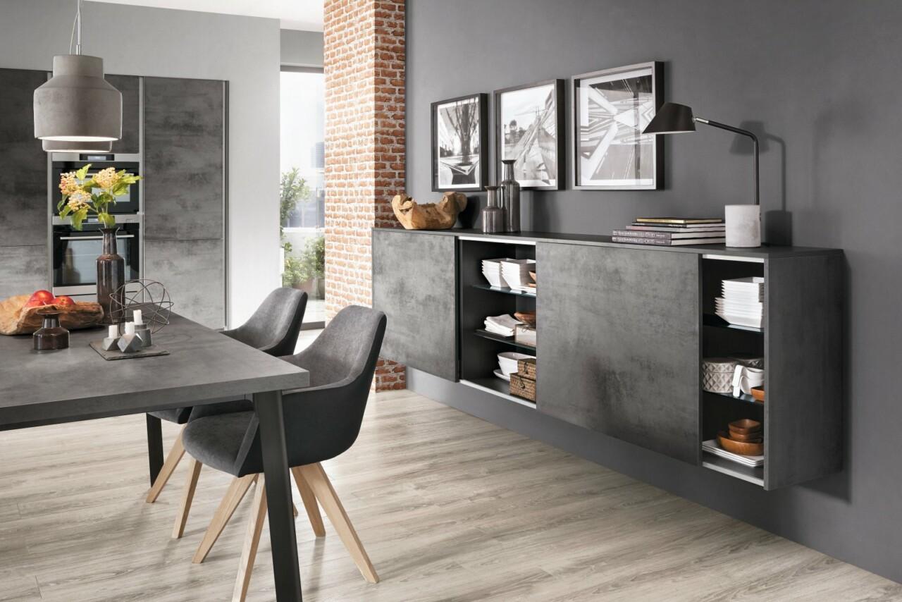 Otwarta kuchnia na wymiar z wyspą kuchenną oraz bezuchwytowym systemem otwierania LINE N NOBILIA RIVA 889 szary łupkowy beton, imitacja, melamina - Meble kuchenne -2- FM KUCHNIE Kraków
