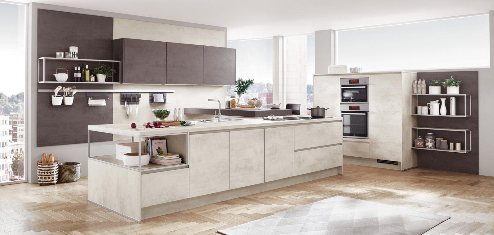 Meble kuchenne NOBILIA RIVA 891 biały beton, imitacja, melamina - Otwarta kuchnia na wymiar z wyspą kuchenną oraz bezuchwytowym systemem otwierania LINE N - FM KUCHNIE Kraków