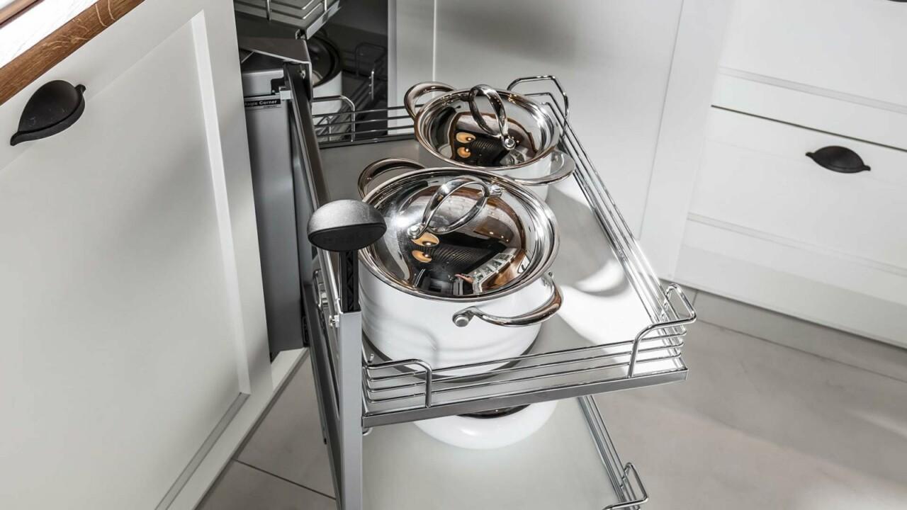 Klasyczne meble kuchenne ATLAS JOLANTA biały mat. lakier - Kuchnia na planie litery U - FM KUCHNIE Kraków
