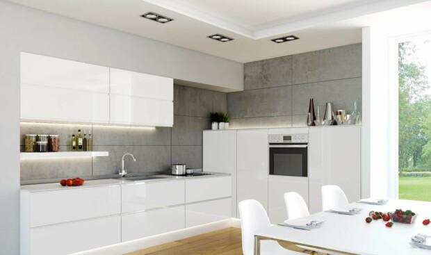Nowoczesne meble kuchenne ATLAS PATRYCJA biały połysk, lakier - Zabudowa kuchenna na planie litery L otwarta na salon - FM KUCHNIE Kraków