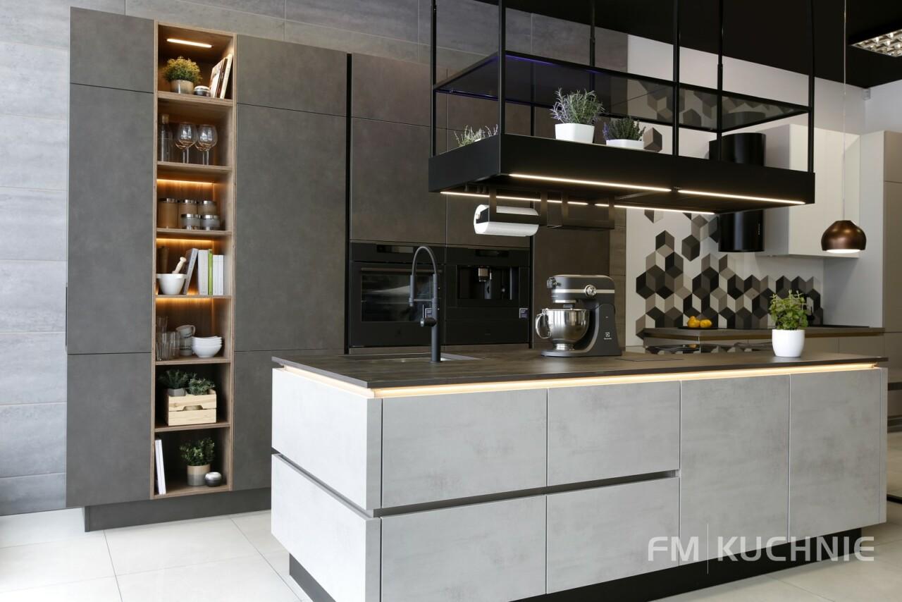 Kuchnie na wymiar bez uchwytów Nobilia Riva 892 szary beton - Riva 839 szary terra beton - Meble kuchenne Kraków -01- FM KUCHNIE Kraków