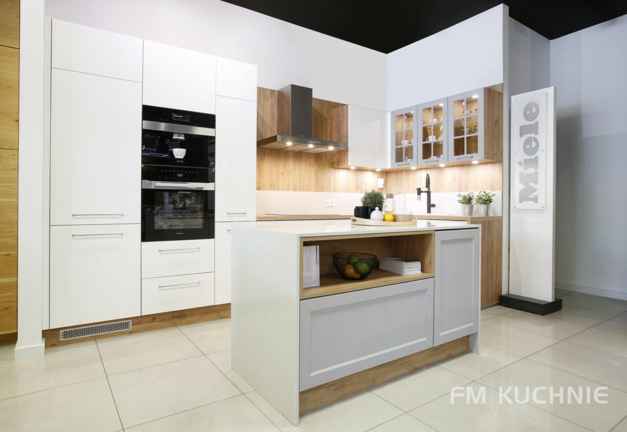 Kuchnia na wymiar Atlas Oktawia biały mat - Jolanta szary platynowy mat - Meble kuchenne Kraków -1- FM KUCHNIE Kraków