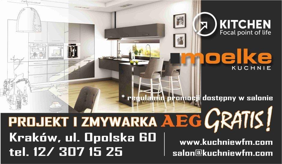 Projekt i zmywarka AEG Gratis - Promocja na meble kuchenne Moelke - Kuchnie na wymiar Kraków | WFM Kuchnie Kraków