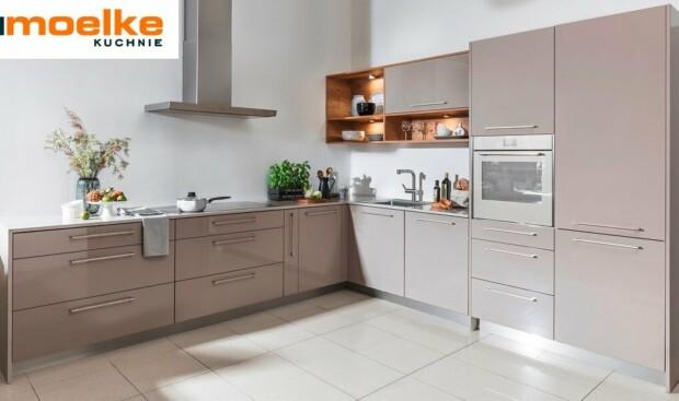 Meble kuchenne Moelke Linea kamienno szary połysk - Kuchnie na wymiar Kraków - WFM KUCHNIE Kraków