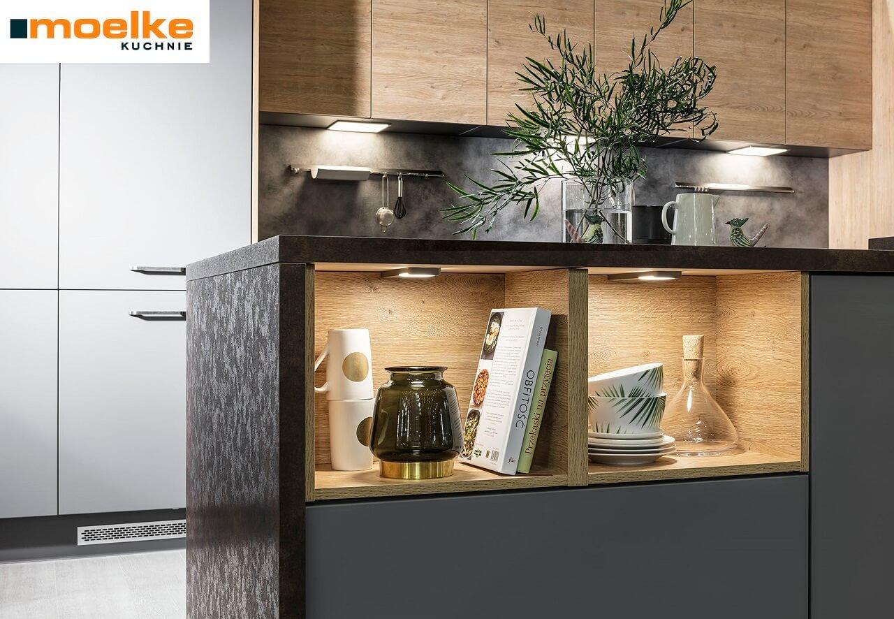 Meble kuchenne Moelke Punto dąb London - Linea zamszowy szary przykurzony - Kuchnie na wymiar Kraków - WFM KUCHNIE Kraków