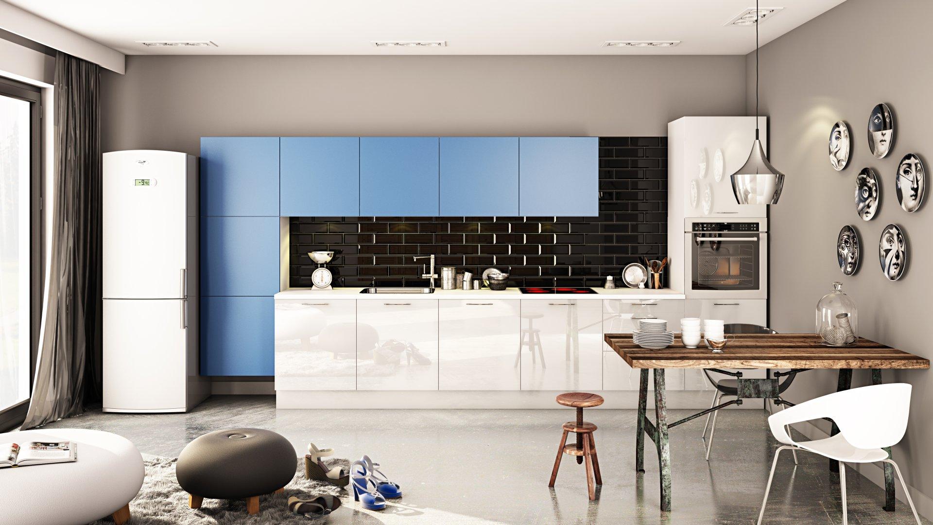 Meble kuchenne Moelke Rifflesso biały | Punto niebieski pastelowy - Nowoczesny, funkcjonalny aneks kuchenny w rozsądnym budżecie - WFM KUCHNIE Kraków