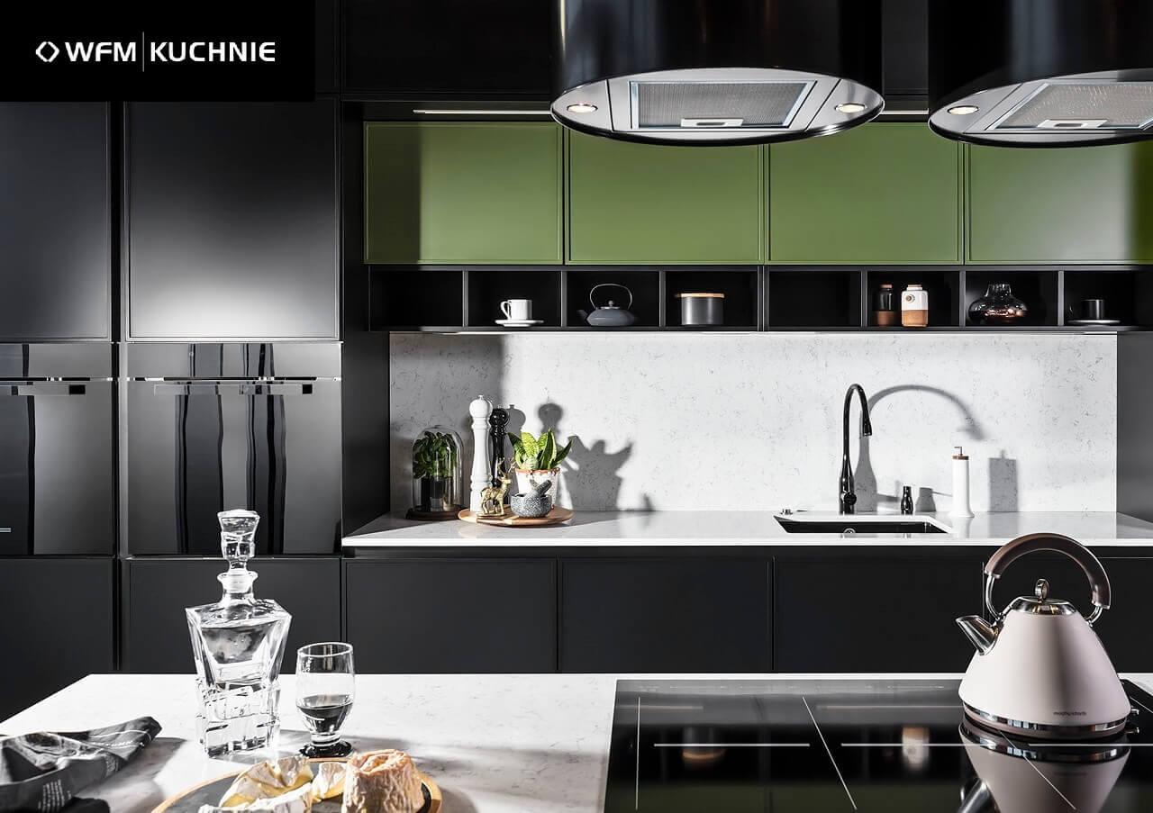 Kuchnia nowoczesna CORNICE czarny mat - Nowoczesne kuchnie na wymiar Kraków, meble kuchenne Kraków - WFM KUCHNIE Kraków